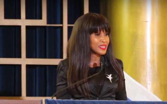 Mpho Phalatse, a councilor in the city of Johannesburg, South Africa, speaks at a Temple Israel Heritage Center gala event on May 9, 2018. (Screen capture: YouTube)