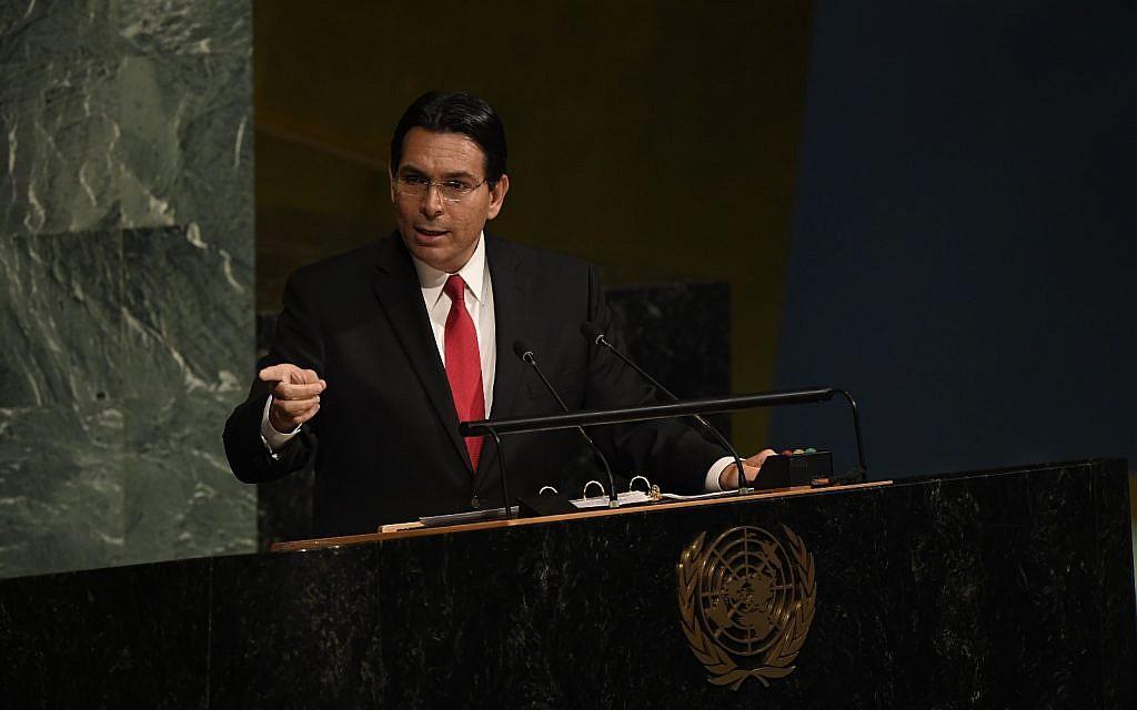 Ambassador Danny Danon addressing the General Assembly (UN Photo/Evan Schneider)
