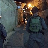 Border police near the Tomb of the Patriarchs in Hebron, where an explosive device was thrown at officers, June 20, 2018. (Israel Police)