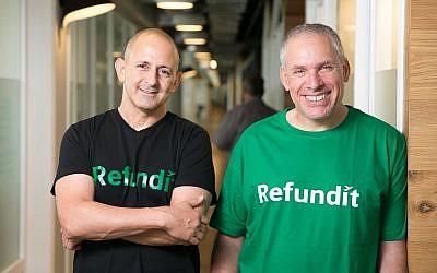 Ziv Tirosh, left, and Uri Levine, the co-founders of Refundit, which seeks to digitalize the VAT refund process in Europe (Courtesy)