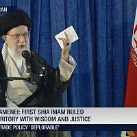 Iran's Supreme Leader Ayatollah Ali Khamenei speaks in Tehran on June 4, 2018. (Screen capture: Press TV)