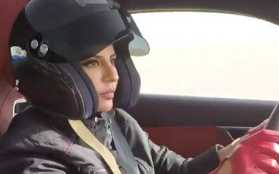 Aseel Al-Hamad, the first female member of Saudi Arabia's national motorsport federation, takes the wheel in a Twitter video posted on June 24, 2018, the day Saudi women gained the right to drive in the kingdom. (Twitter screen capture)