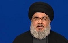 Hezbollah leader Hassan Nasrallah speaks on June 29, 2018 (YouTube screenshot)