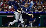 Ryan Braun of the Milwaukee Brewers onnecting for his second home run of the game against the Phillies at Citizens Bank Park in Philadelphia, June 8, 2018. (Corey Perrine/Getty Images via JTA)