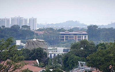 This June 6, 2018, photo shows the Capella Hotel on Sentosa Island in Singapore (seen in the center of the picture) where US  President Donald Trump and North Korean leader Kim Jong Un are set to meet on June 12, 2018, for nuclear talks. (AP Photo/Wong Maye-E)