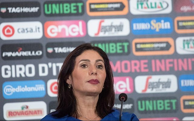 Culture and Sports Minister Miri Regev at a press conference ahead of the 2018 Giro d'Italia cycling race on May 2, 2018. (Miriam Alster/Flash90)