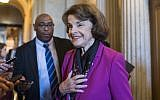 Senator Dianne Feinstein talks with reporters after the Senate Policy luncheons in the Capitol on June 5, 2018. (Tom Williams/CQ Roll Call)