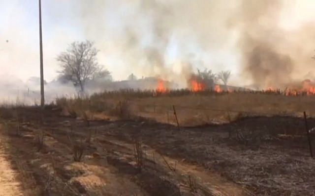Fires in fields adjacent to the Gazan border on June 3, 2018. (Screen capture: Ynet news)