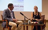 Author Sarah Tuttle-Singer (right) is interviewed by journalist Matthew Kalman at a Times of Israel Presents event in Jerusalem, June 18, 2018. (Laura Ben-David)