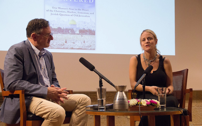 Author Sarah Tuttle-Singer (right) is interviewed by journalist Matthew  Kalman at a