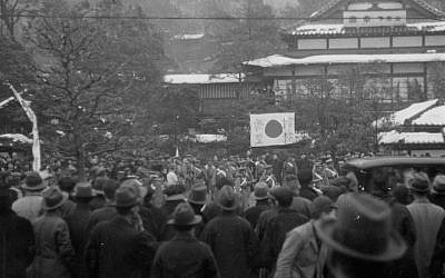 People surround rebel troops occupying the restaurant 'Koraku' on February 26, 1936 in Tokyo, Japan.  (The Asahi Shimbun via Getty Images via JTA)