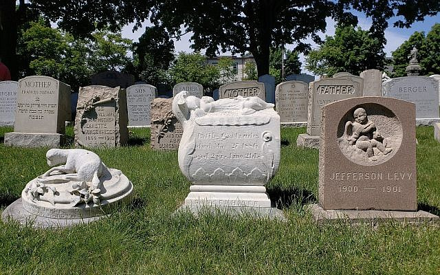 At the Ohabei Shalom Cemetery in East Boston, Massachusetts, grave markers for children fill part of one section, June 10, 2018 (Matt Lebovic/The Times of Israel)
