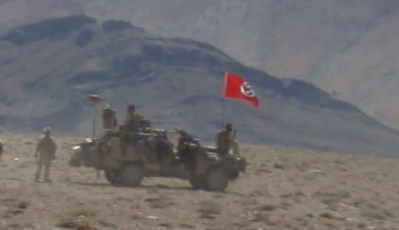 Photo shows Australian soldiers flying Nazi flag in Afghanistan