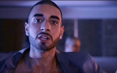 Norwegian rapper Kaveh Kholardi seen in the music video for his 2014 song 'Snufs.' (screen capture: YouTube)