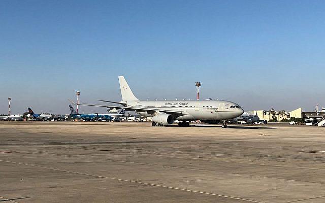 British Prince William's plane lands in Israel, June 25, 2018 (UK Embassy)