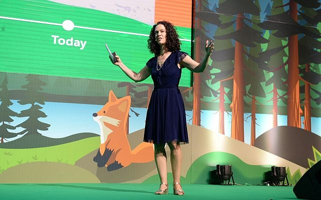 Hila Levy-Loya, Israel country manager for Salesforce speaking at the Salesforce Basecamp cloud and CRM event in Tel Aviv; June 13, 2018 (Courtesy)