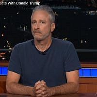 Comedian Jon Stewart takes on Donald Trump during a guest appearance on 'The Late Show with Stephen Colbert,' on June 28, 2018.