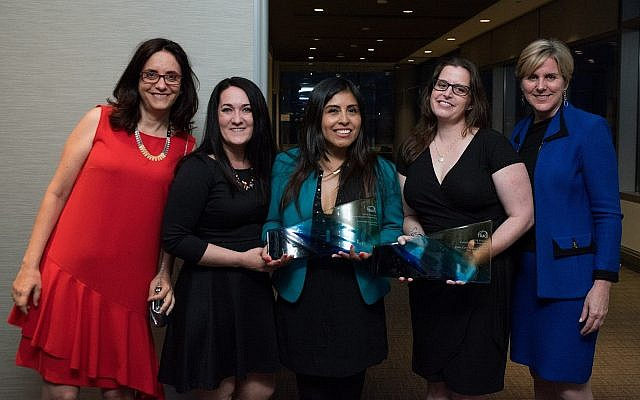 Investigative reporters Simona Weinglass of The Times of Israel (left), Kelly Carr, Milagros Salazar, Jaimi Dowdell and Trace International President Alexandra Wrage at the Trace Prize for Investigative Reporting award ceremony, June 6, 2018 (Photo Courtesy of TRACE)
