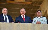 Prime Minister Benjamin Netanyahu (C), Defense Minister Avigdor Liberman (L) and IDF Chief of Staff Gadi Eisenkot at a graduation ceremony for new IDF officers on June 20, 2018. (Ariel Hermoni/Defense Ministry