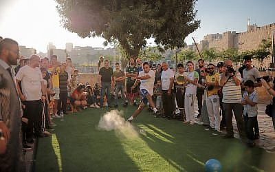 Some penalty kicks in Kulna Jerusalem event, held before Monday night's World Cup game (Courtesy Ricky Rachman)