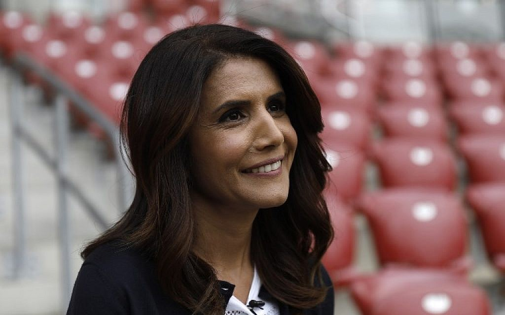 Alona Barkat, the owner of the soccer team Hapoel Beersheba, poses for a portrait during an interview at Turner Stadium in Beersheba on May 8, 2018. (AFP PHOTO / MENAHEM KAHANA)