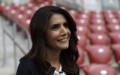 Alona Barkat, the owner of the soccer team Hapoel Beersheba, poses for a portrait during an interview at Turner Stadium in Beersheba, on May 8, 2018. (AFP PHOTO / MENAHEM KAHANA)