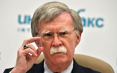 US National Security Adviser John Bolton speaks during a press conference in Moscow