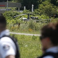This picture taken on July 1, 2018 in Gonesse, north of Paris shows a French helicopter Alouette II abandoned by French armed robber Redoine Faid after his escape from prison in Reau. (AFP/ GEOFFROY VAN DER HASSELT)