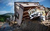 A damaged house in a flood hit area in Kumano, Hiroshima prefecture on July 9, 2018. (Martin BUREAU/AFP)
