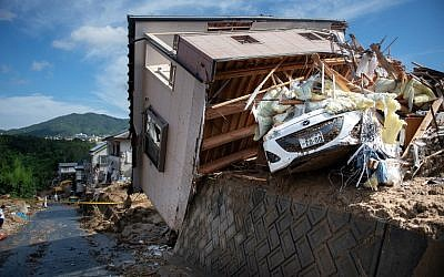 A damaged house in a flood hit area in Kumano, Hiroshima prefecture on July 9, 2018. (Martin BUREAU/AFP)