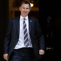 Then-British health secretary Jeremy Hunt leaves 10 Downing Street in central London after attending the weekly cabinet meeting, on July 3, 2018. (AFP Photo/Tolga Akmen)