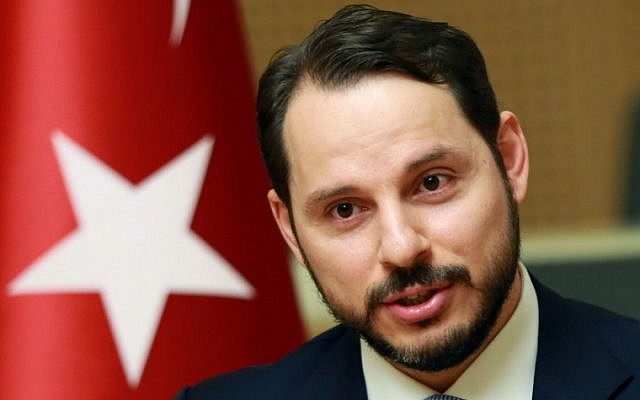 Then Turkish Minister of Energy Berat Albayrak addresses the media in Ankara,  July 27, 2016. (ADEM ALTAN/AFP)