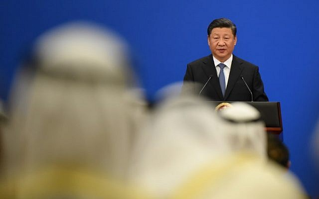 China's President Xi Jinping gives a speech during the 8th Ministerial Meeting of China-Arab States Cooperation Forum at the Great Hall of the People in Beijing on July 10, 2018. (AFP PHOTO / WANG ZHAO)