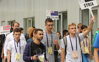 Hafez Assad (C), son of Syrian President Bashar Assad, attends the International Maths Olympics in Cluj Napoca city July 10, 2018 (AFP PHOTO / Mircea ROSCA)