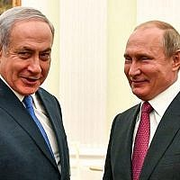 Russian President Vladimir Putin (R) with Israeli Prime Minister Benjamin Netanyahu during their meeting at the Kremlin in Moscow on July 11, 2018. (AFP/ Pool/Yuri Kadobnov)