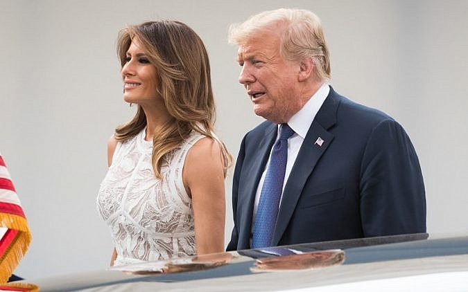 US President Donald Trump and First Lady of the US Melania Trump arrive for a working dinner at The Parc du Cinquantenaire- Jubelpark Park in Brussels