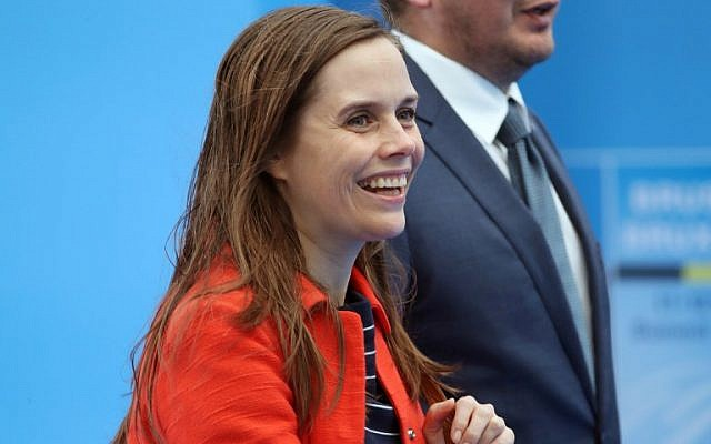 Iceland's Prime Minister Katrin Jakobsdottir arrives for the second day of the NATO (North Atlantic Treaty Organization) summit, in Brussels, on July 12, 2018. (AFP PHOTO / POOL / Tatyana ZENKOVICH)