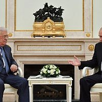 Palestinian Authority President Mahmoud Abbas speaks with Russian President Vladimir Putin during their meeting at the Kremlin in Moscow on July 14, 2018. ( AFP PHOTO / Yuri KADOBNOV)