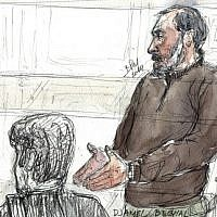 A court sketch made on October 7, 2014 shows Djamel Beghal during his appeal trial at the Paris courthouse. (AFP PHOTO / BENOIT PEYRUCQ)