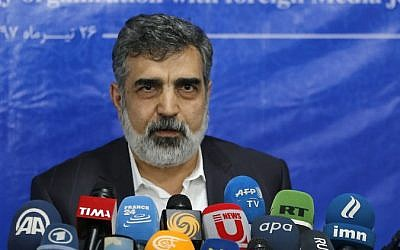Spokesman of the Atomic Energy Organization of Iran (AEOI), Behrouz Kamalvandi answers the press in the capital Tehran on July 17, 2018. (AFP PHOTO / ATTA KENARE)