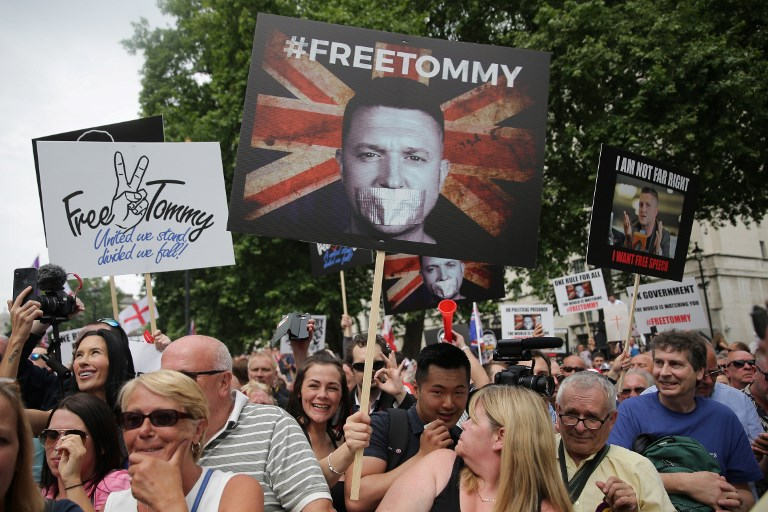 Far right rejoices after court frees Tommy Robinson over legal errors