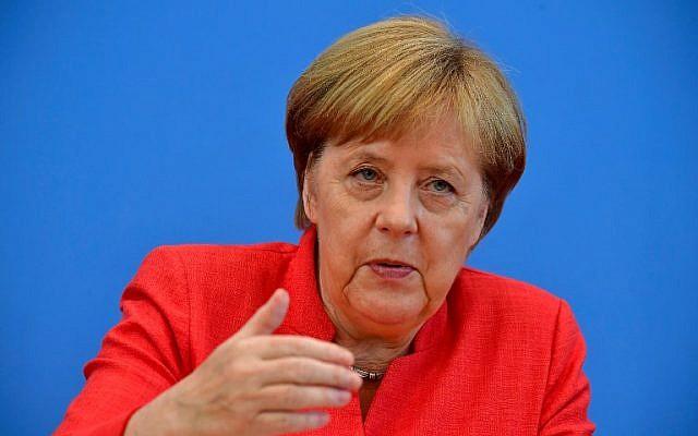 German Chancellor Angela Merkel speaks during her summer press conference in Berlin, on July 20, 2018. (AFP/Tobias Schwarz)