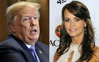 US President Donald Trump in Washington, DC, July 18, 2018; and Playboy model Karen McDougal in Miami Beach, Florida, February 6, 2010. (AFP/Getty Images North America/Nicholas Kamm and Dimitrios Kambouris, file)
