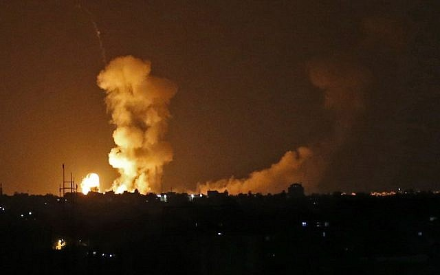 20 2018 shows the explosions from an Israeli bombardment in Khan Younis in the southern Gaza Strip