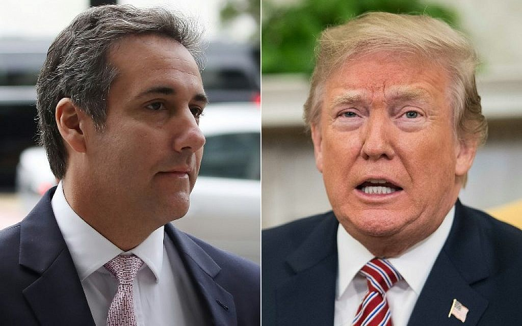 This combination of file pictures created on April 11, 2018, shows Michael Cohen (L) and US President Donald Trump. (AFP Photo/Getty Images North America and AFP Photo/Mark Wilson and Nicholas Kamm)