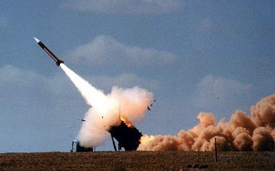 Illustrative: In this handout file photo provided by the Israeli Army on February 22, 2001, a Patriot anti-missile missile is launched on the last day of joint five-day US-Israeli military exercise in the Negev desert. (Israel Defense Forces/AFP)