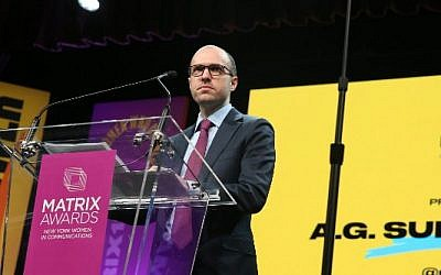 A.G. Sulzberger attends the 2018 Matrix Awards at Sheraton Times Square in New York City, April 23, 2018.  (AFP PHOTO/GETTY IMAGES NORTH AMERICA/ROB KIM)
