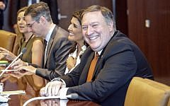 US Secretary of State Mike Pompeo sits next to US Ambassador to the UN Nikki Haley while he visits UN Secretary-General Antonio Guterres office at the UN headquarters on July 20, 2018 in New York City. (Kena Betancur/Getty Images/AFP)