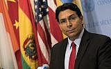 Israeli ambassador to the United Nations Danny Danon speaks during a brief press conference before a Security Council meeting at UN Headquarters, July 24, 2018 in New York City. (Drew Angerer/Getty Images/AFP)
