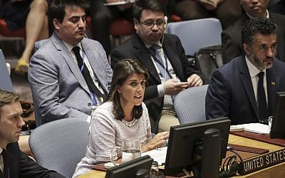 US Ambassador to the United Nations Nikki Haley speaks during a United Nations Security Council meeting at UN Headquarters, July 24, 2018 in New York City. (Drew Angerer/Getty Images/AFP)